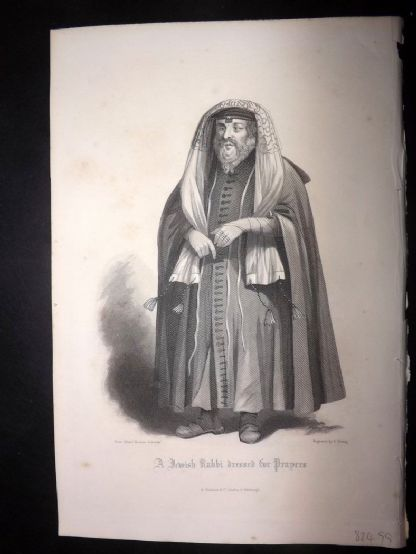 After Allen 1860 Antique Print. Jewish Rabbi dressed for Prayers. Judaica